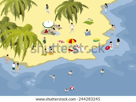 People vacationing on a beautiful beach