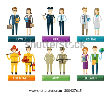 people vector logo design template. police, firefighting service, hospital and soldier, lawyer, education  icons - stock vector