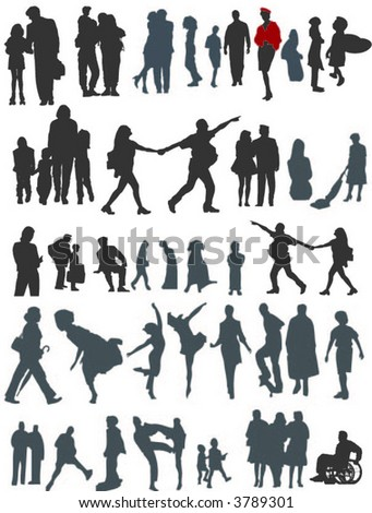 people vector set with kids and grow up persons - stock vector