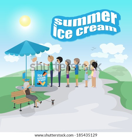 People Waiting In Line For Ice Cream, Summer Poster - Vector Illustration, Graphic Design Editable For Your Design - stock vector