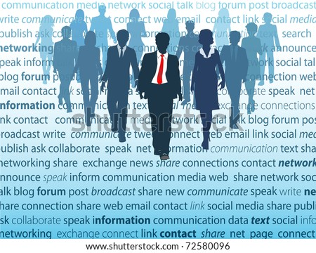 People walk from a page where they actively use social media network concepts in business - stock vector