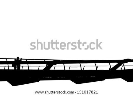 People walking over Millennium bridge in London, UK.  - stock vector