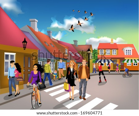 people walking through town on a sunny day - stock vector