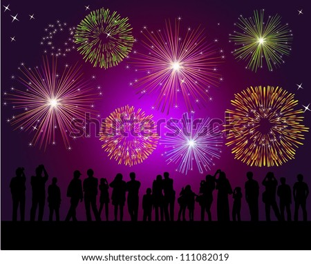People watching fireworks - stock vector