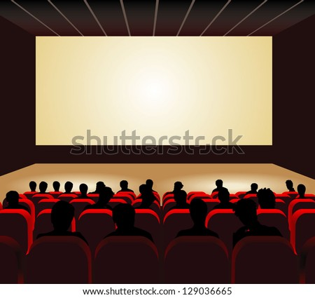 People watching movie at cinema hall. Vector illustration. - stock vector
