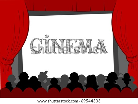People watching movie at cinema hall, Vector illustration - stock vector