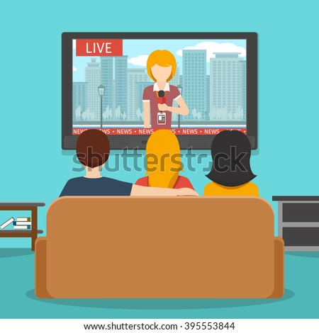 People Watching News On Television Tv Stock Vector