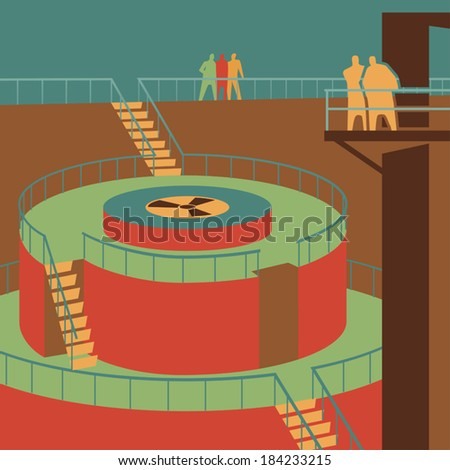People watching the reactor at the nuclear power station retro vector illustration - stock vector