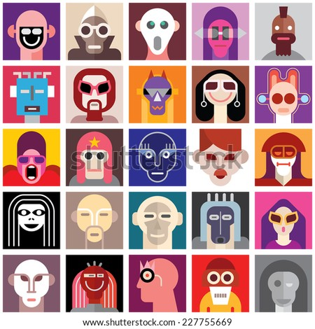 People Wearing Masks. Collage of a different people portraits. Seamless wallpaper.