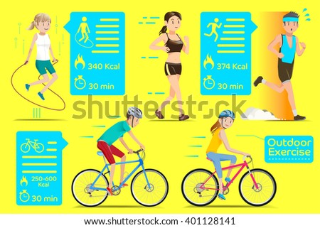 People who exercise outdoors in the city. Flat Graphics style.  - stock vector