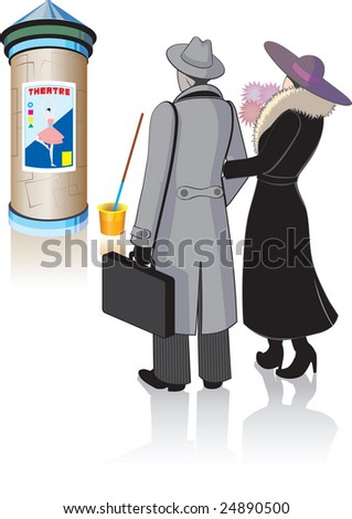 People who look at the theatrical poster - stock vector
