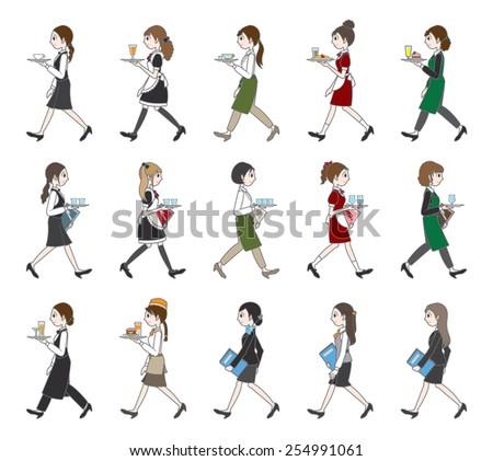 People who work / Walking - stock vector