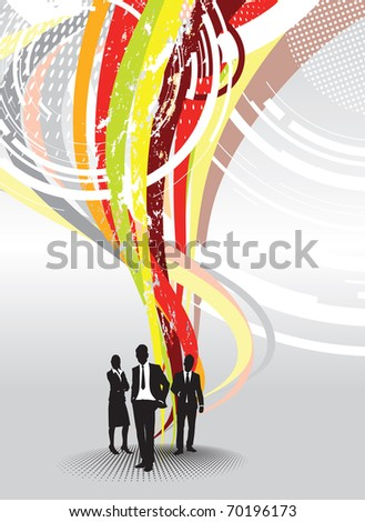 people with an abstract swirling background