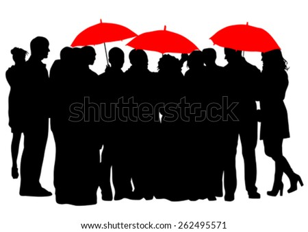 People with an umbrella on a white background - stock vector
