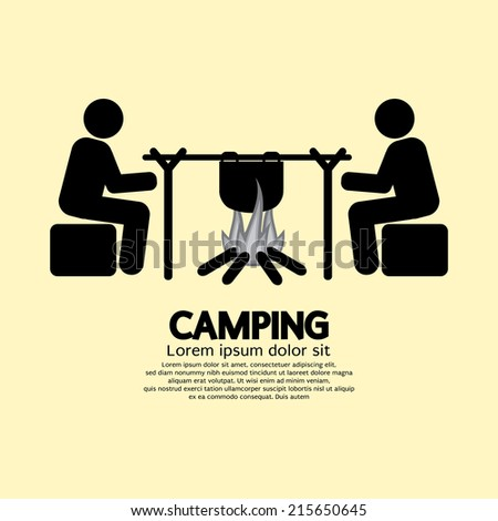 People With Campfire Camping Symbol Vector Illustration - stock vector