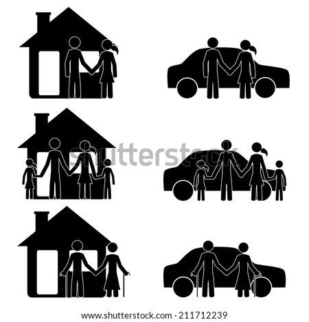 People with car and house. It is a stick figure vector. EPS10  - stock vector