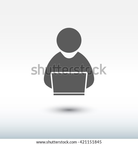 people with computer, person with laptop  icon.  - stock vector
