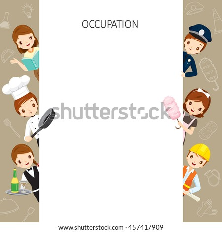 People With Different Occupations Set On Frame, Profession, Avatar, Worker, Job, Duty - stock vector