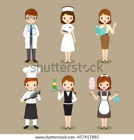 People With Different Occupations Set, Profession, Avatar, Worker, Job, Duty - stock vector