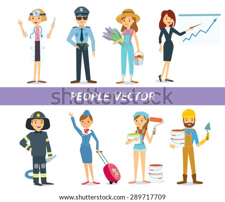 people with different professions - stock vector