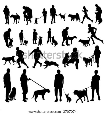 people with dogs silhouettes - stock vector