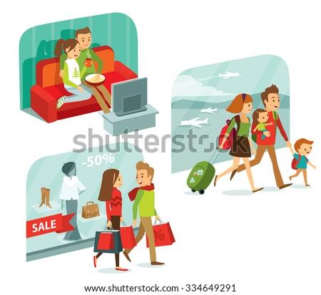 Family Holidays Stock Vectors Vector Clip Art