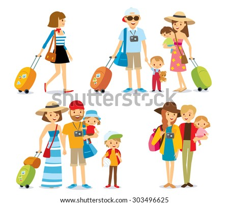 people with kids travelling on vacation - stock vector