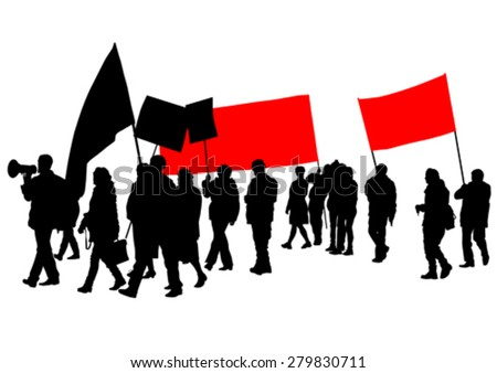 People with large flags on white background - stock vector