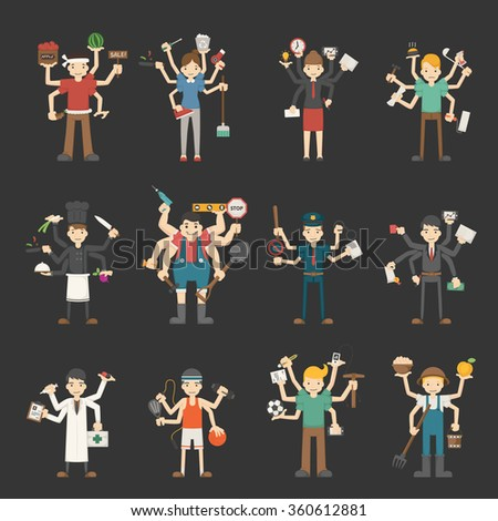 People with many hands working - stock vector