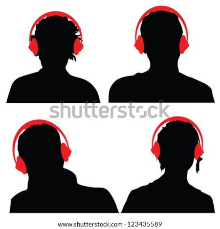 people with red color headphones black silhouette - stock vector