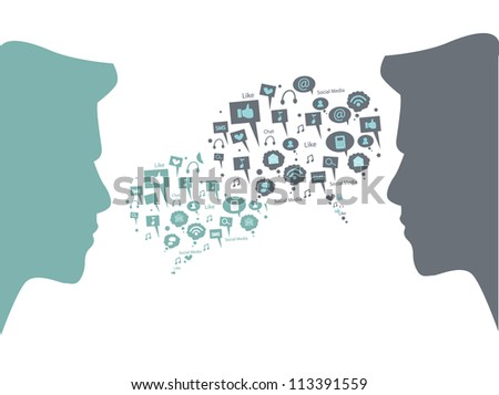 people with speech bubble - stock vector