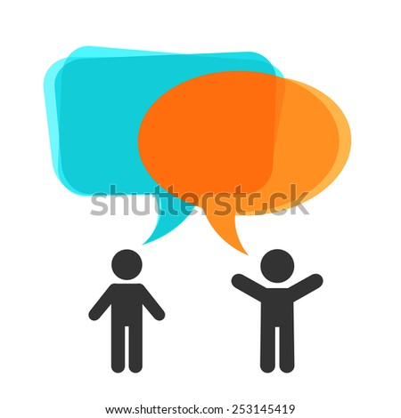 People with speech bubbles - stock vector