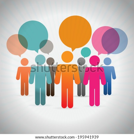 people  with thinking bubbles - stock vector