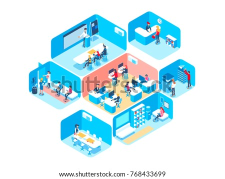 People work in a team and achieve the goal. Business processes and office situations. Isometric vector illustration.
