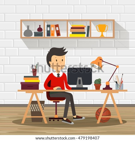 People Work Office Design Flat Business Stock Vector Royalty Free - Table for office use