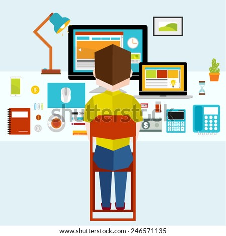 People Working In Front of Office Desk Vector Illustration - stock vector