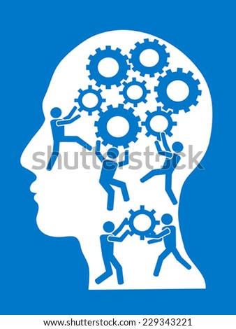 people working in gears brain - stock vector