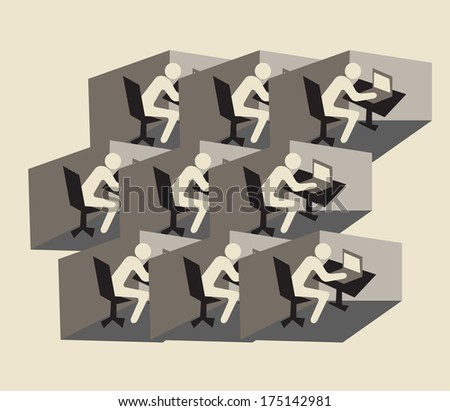 people working in small cubicles - stock vector
