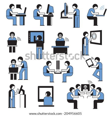 people working on computer set, business man in office place, business conference - stock vector