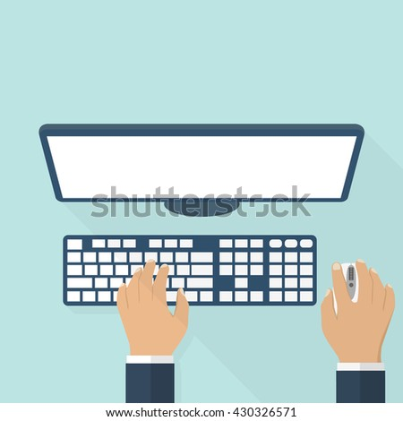 People working on the computer. The hands on the keyboard and mouse. Flat style design, vector illustration. The programmer, blogger, freelancer, designer, office employee. - stock vector