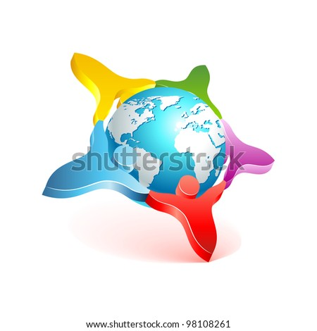 People world 3d icon. Vector design element. - stock vector