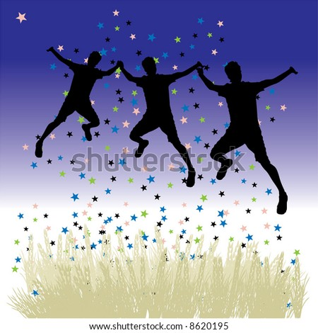Peoples dance on meadow, night sky with stars