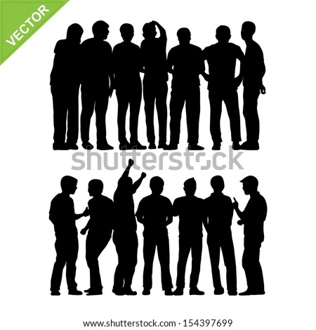 Peoples group silhouettes vector - stock vector