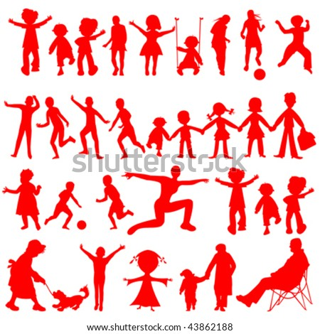 peoples red silhouettes isolated on white background, abstract art illustration - stock vector