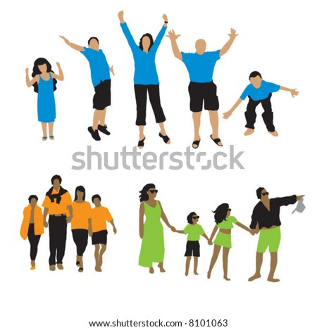 Peoples silhouette: 3 family - stock vector