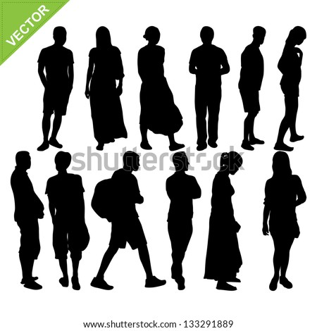Peoples silhouettes vector - stock vector
