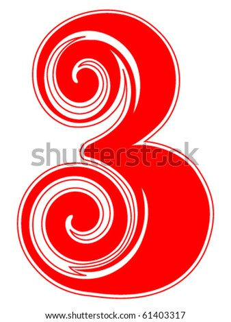 Peppermint Candy Cane Number Three - stock vector