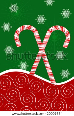 Peppermint candy canes on red curve with snowflakes on green background. - stock vector