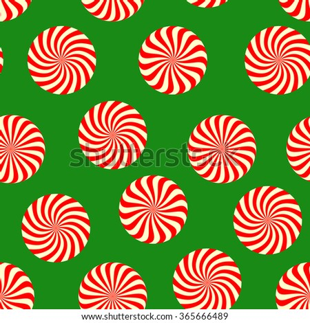 Peppermint candy seamless pattern on green background. Concept for Christmas holiday wrapping paper with mint color sweets. Vector illustration - stock vector
