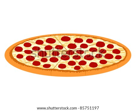 Pepperoni Pizza Illustration - Vector Illustration (JPEG version also available). - stock vector